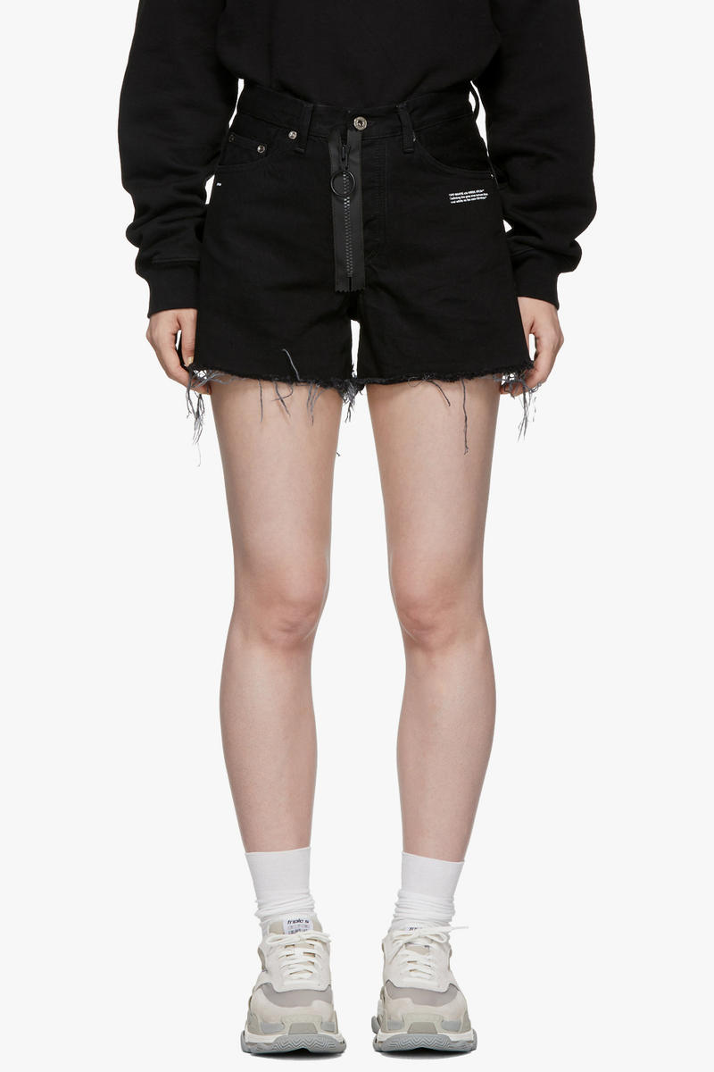 Off-White Vintage Flowers Denim Shorts Black