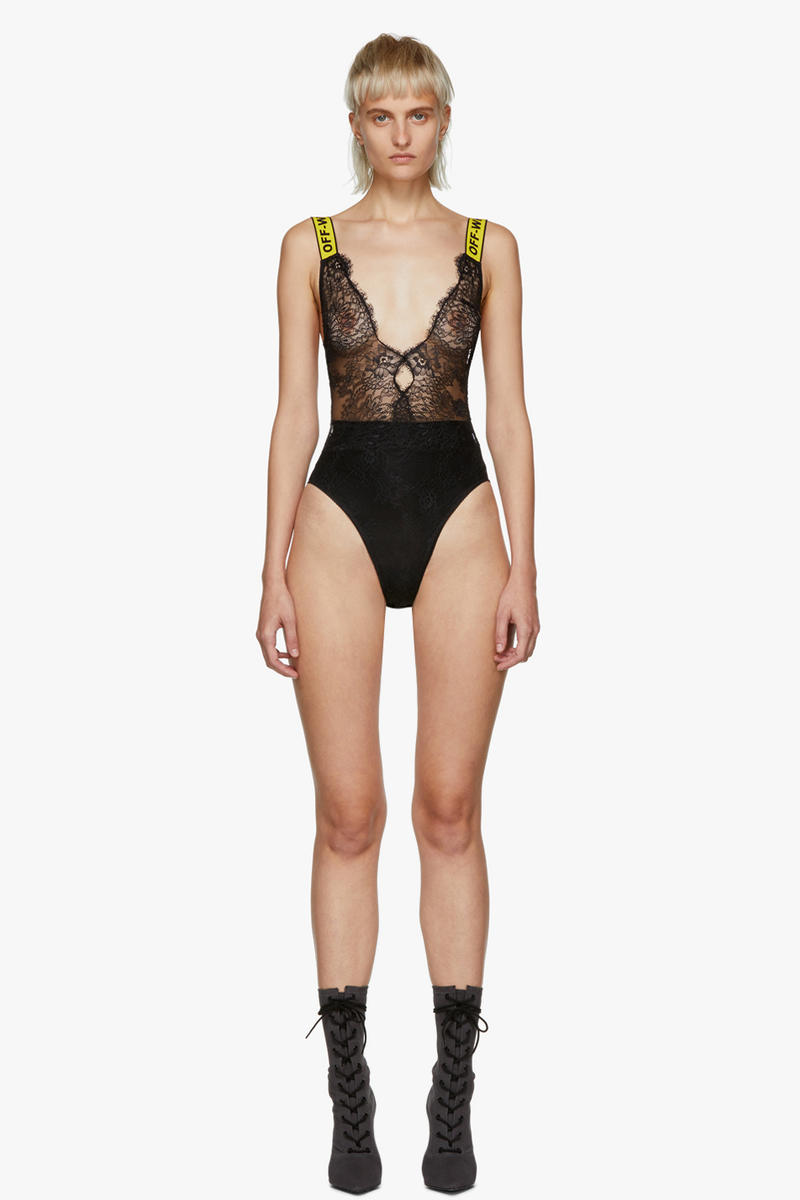 Off-White Lace One-Piece Bodysuit Black