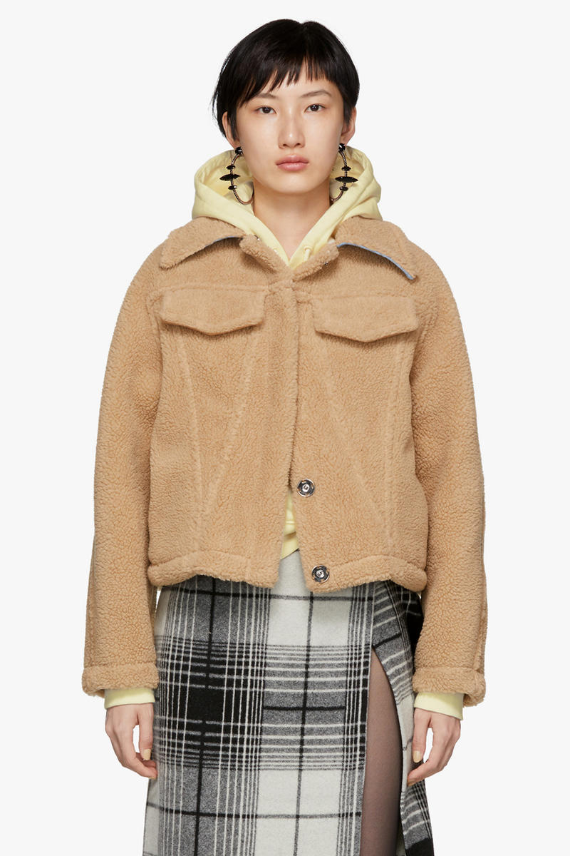 Off-White Faux Fur Bear Truck Jacket Brown