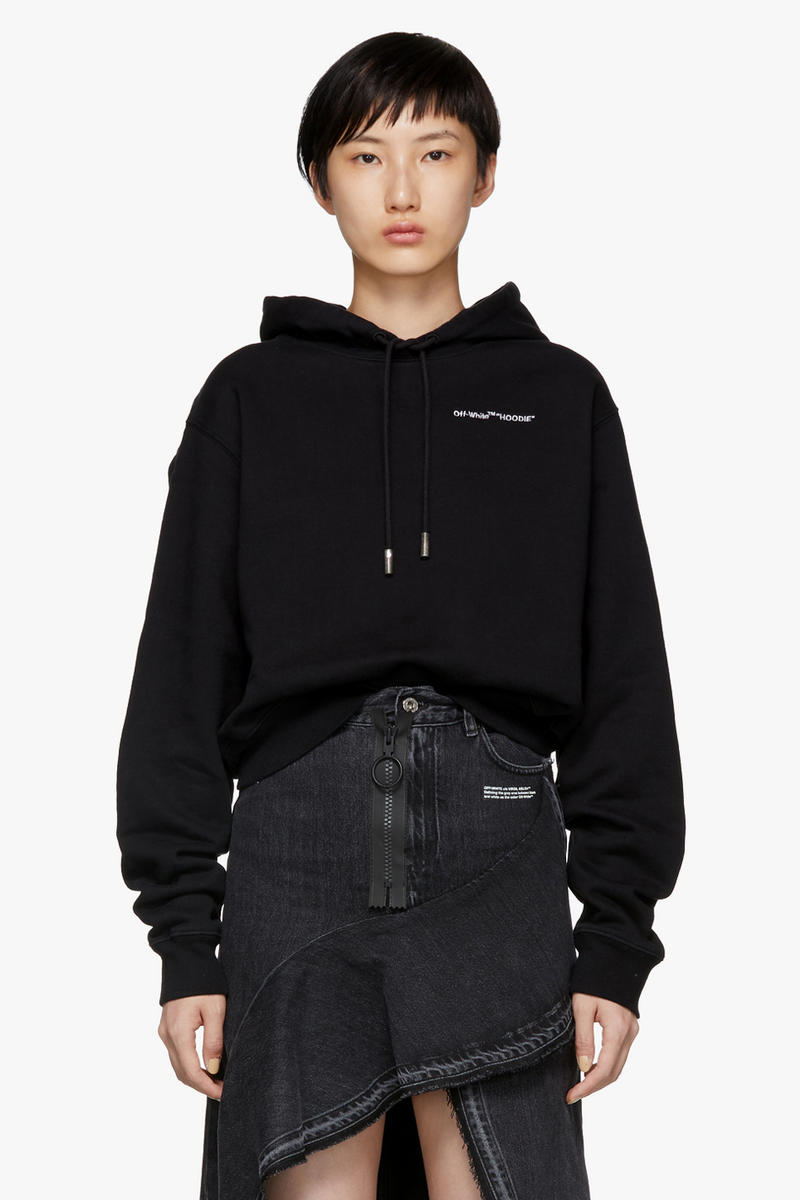 Off-White Quotes Cropped Hoodie Black