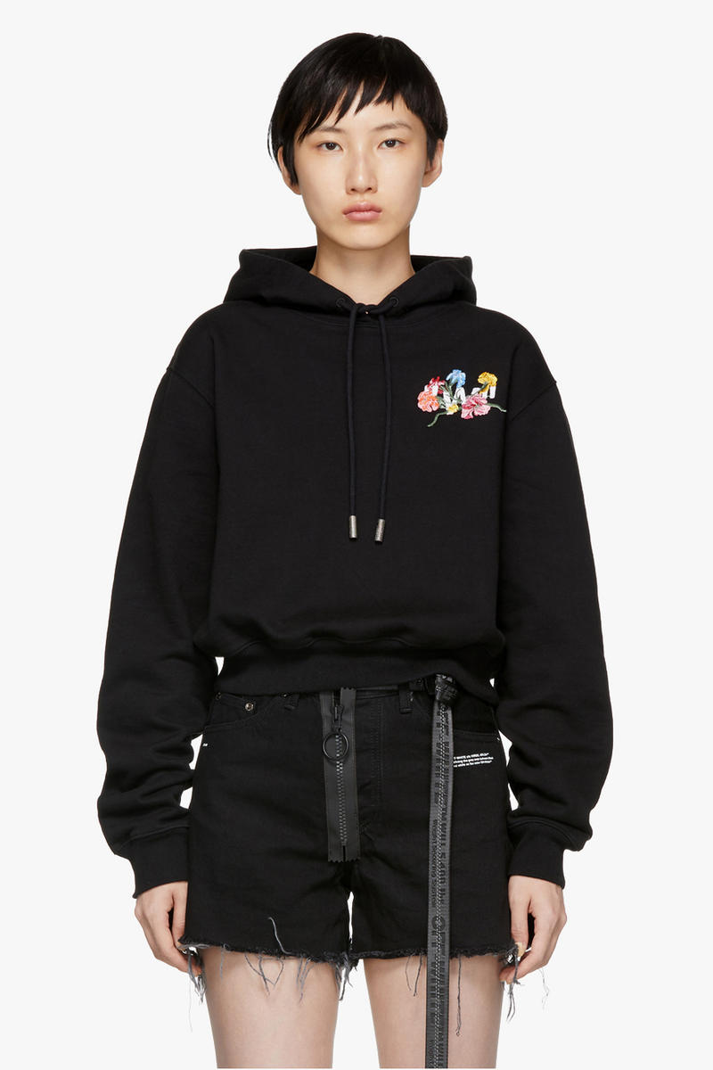 Off-White Flowers Cropped Hoodie Black