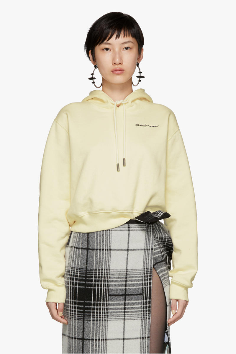Off-White Quotes Cropped Hoodie White