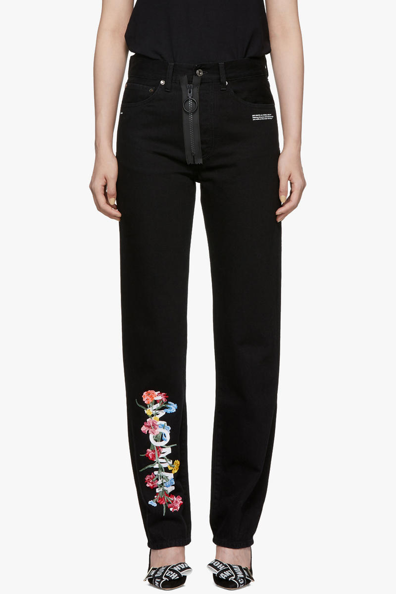 Off-White Vintage Flowers Baggy Jeans Black