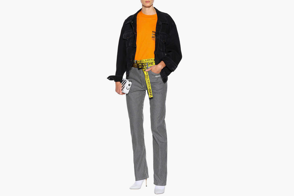 "Off-White™ Drops Striped ""DENIM"" Pants Virgil Abloh Statement Trousers Jeans White Blue"
