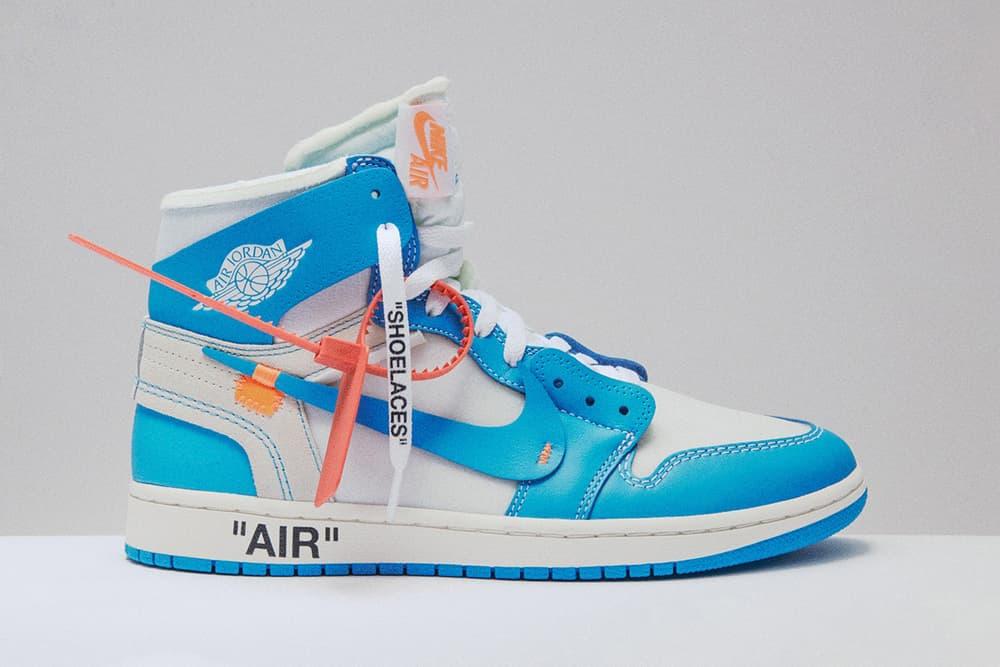 Off-White Virgil Abloh x Air Jordan 1 UNC Powder Blue Nike