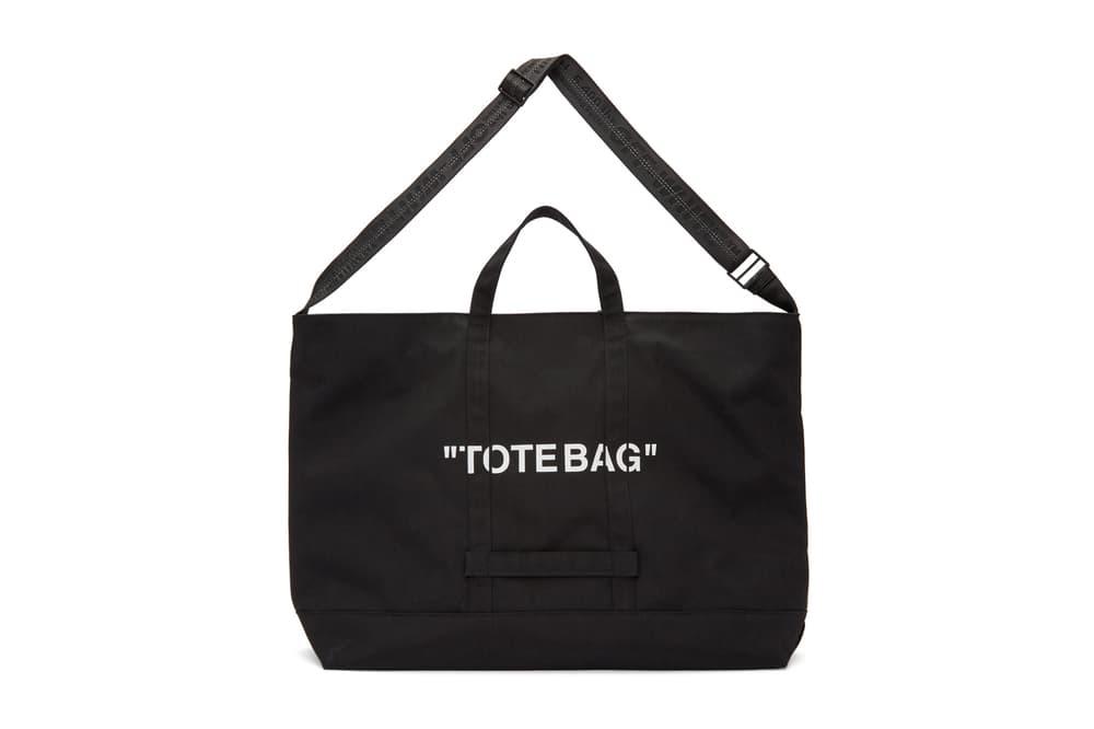 "Off-White™ Black Logo ""TOTEBAG"" by Virgil Abloh Print Beach Bag Essentials"