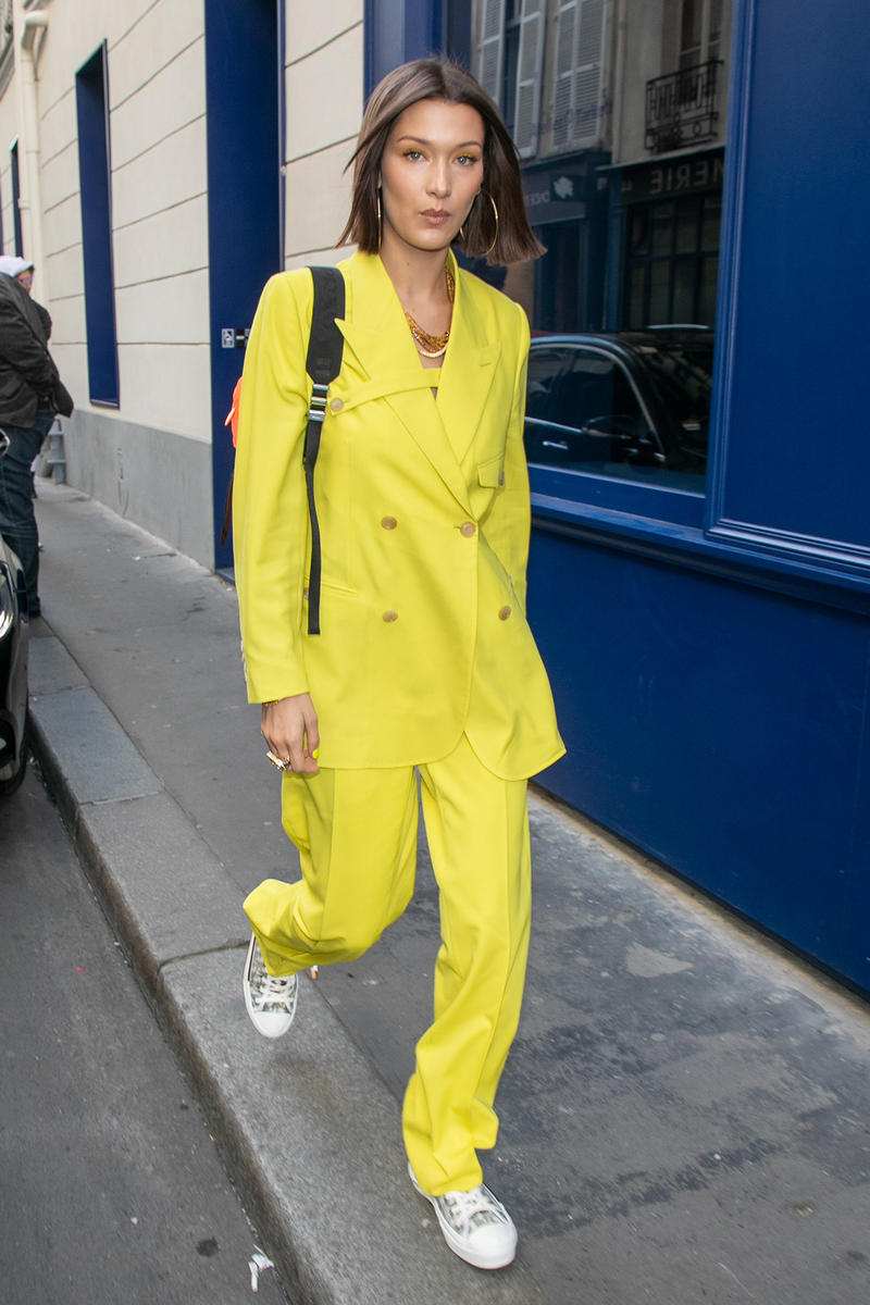 Bella Hadid Dior Homme Men Yellow Suit Fluorescent Prada Backpack Sneakers Paris Fashion Week
