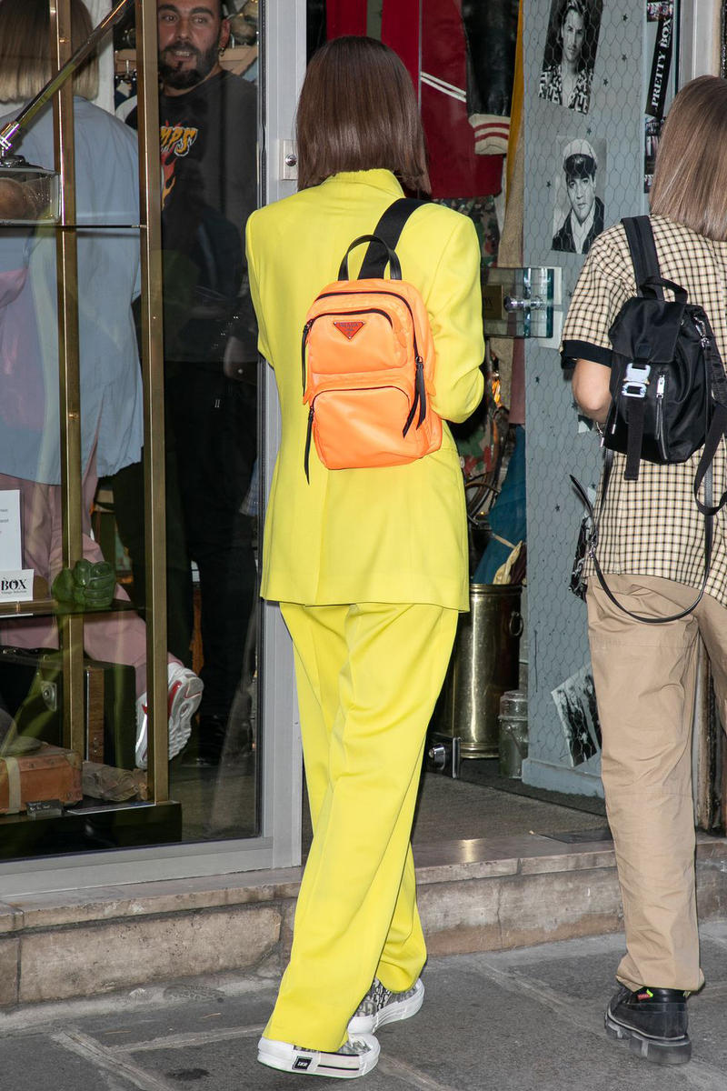 Bella Hadid Prada One-Shoulder Backpack Red Fluo Dior Homme Men Yellow Suit Kim Jones Paris Fashion Week