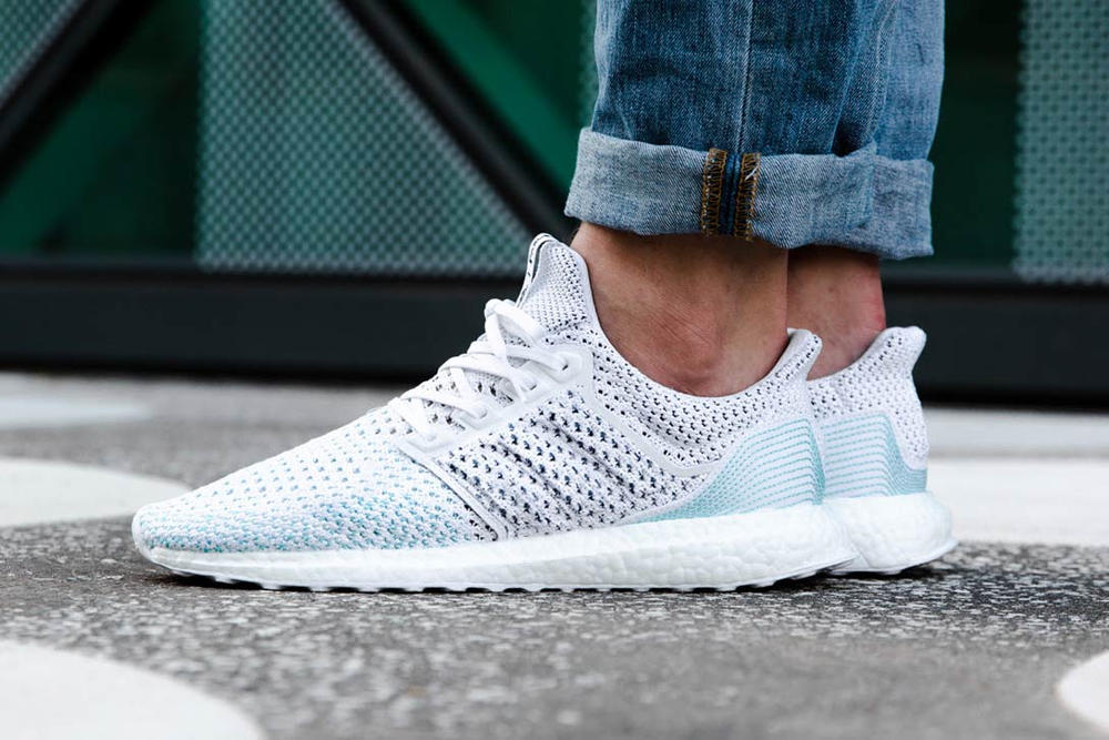 ef07d83ae5a79 Parley adidas Originals UltraBOOST Blue White On Foot