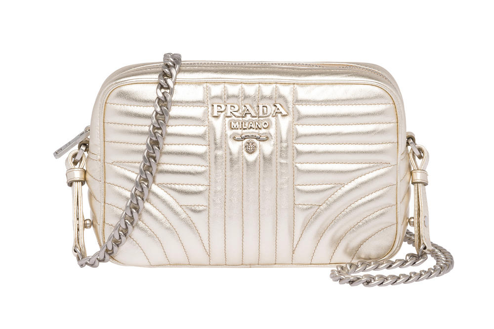 Prada Releases Metallic Diagramme Shoulder Bag Periwinkle Blue Silver Chrome Champagne Pyrite