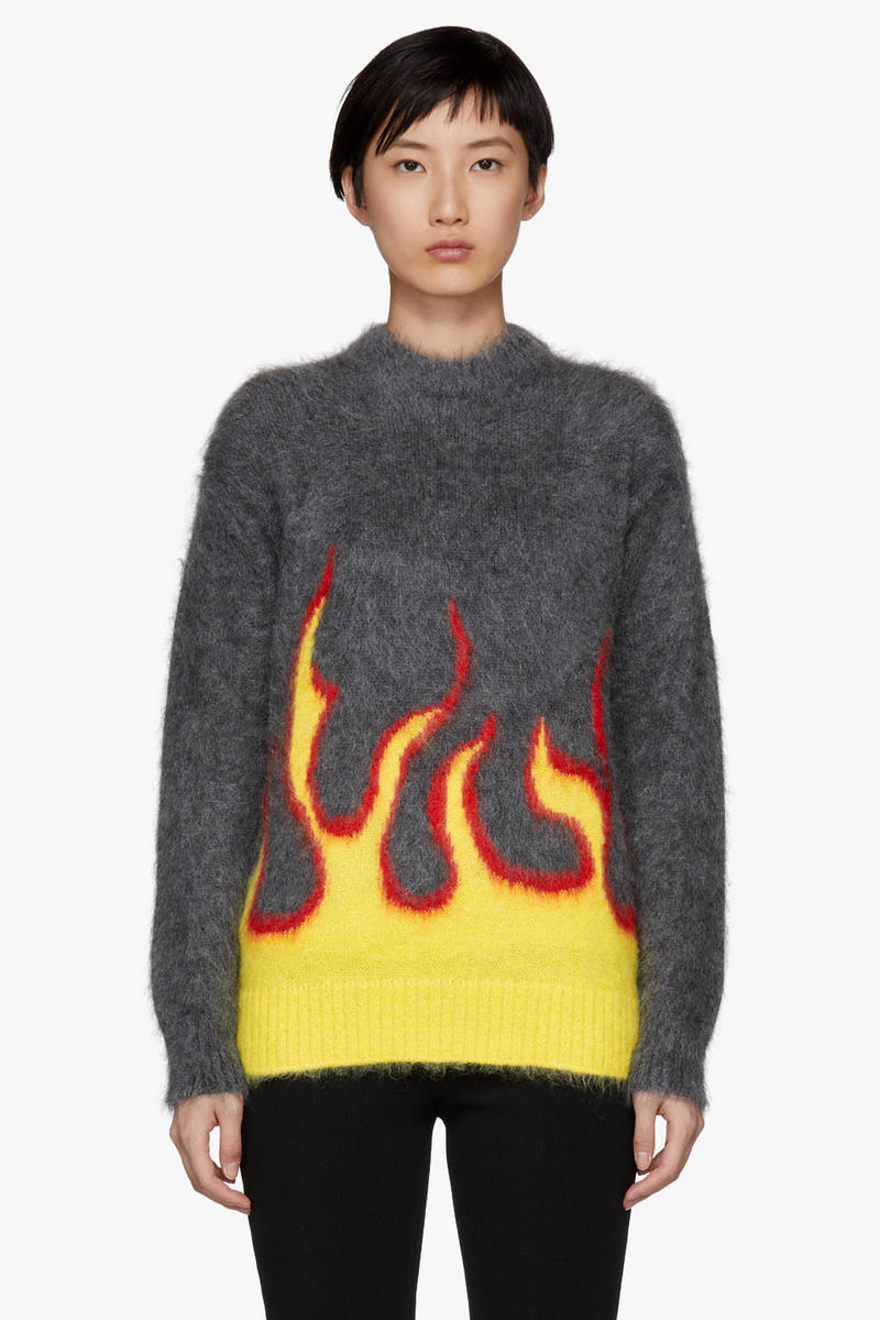 Prada Flame Fire Mohair Blend Sweater Print Graphic Winter Fall Sweatshirt