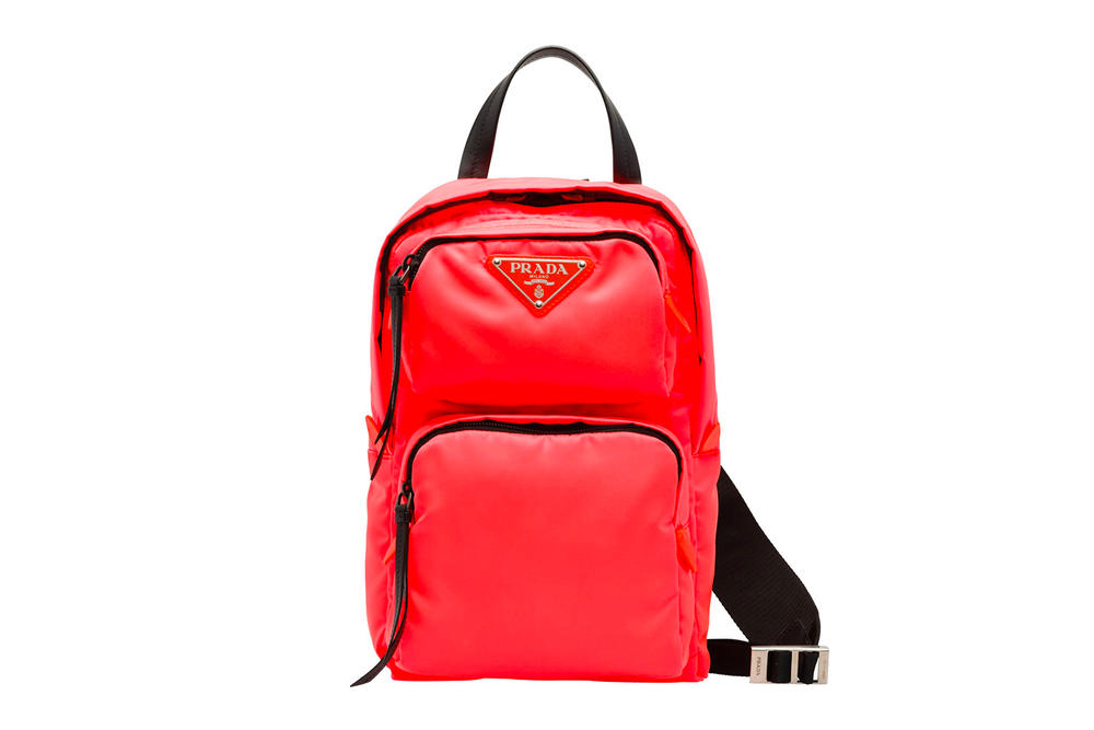 Prada Fluo Fluorescent Fall Winter 2018 One Shoulder Backpack Red