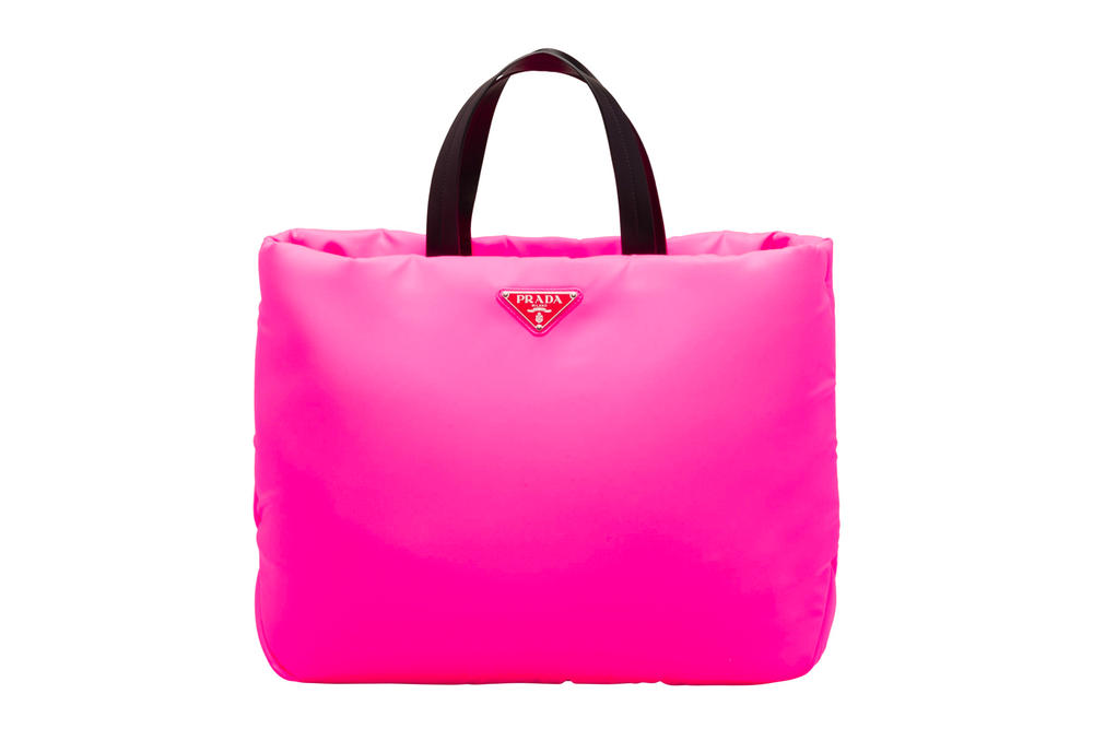 Prada Fluo Fluorescent Fall Winter 2018 Padded Nylon Tote Bag Pink