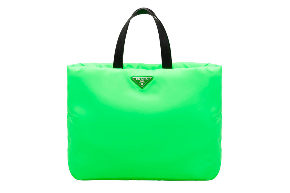 Prada Fluo Fluorescent Fall Winter 2018 Padded Nylon Tote Bag Green