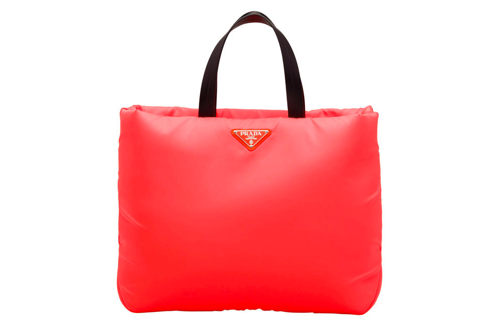 Prada Fluo Fluorescent Fall Winter 2018 Padded Nylon Tote Bag Orange Coral Red