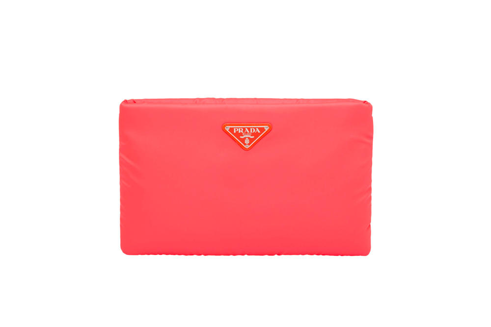 Prada Fluo Fluorescent Fall Winter 2018 Padded Nylon Clutch Orange