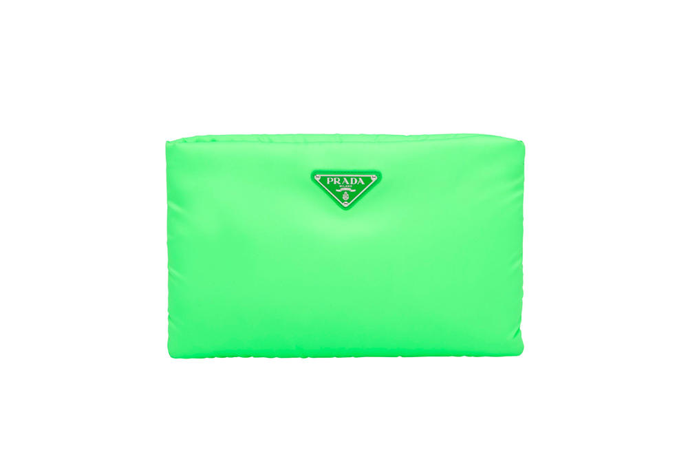 Prada Fluo Fluorescent Fall Winter 2018 Padded Nylon Clutch Green