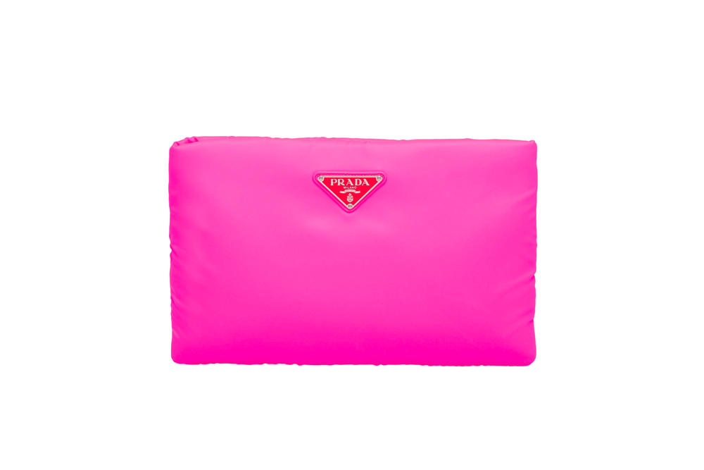 Prada Fluo Fluorescent Fall Winter 2018 Padded Nylon Clutch Pink
