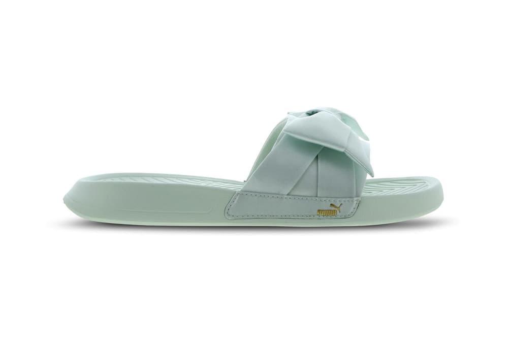 PUMA Satin Bow Slides Pastel Purple Mint Green