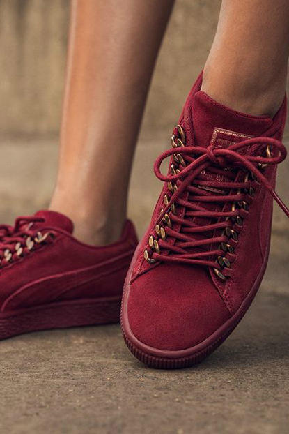 PUMA Suede Chain Red Maroon