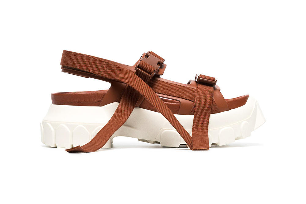 Rick Owens Sisyphus Leather Hiking Sandals Brown White