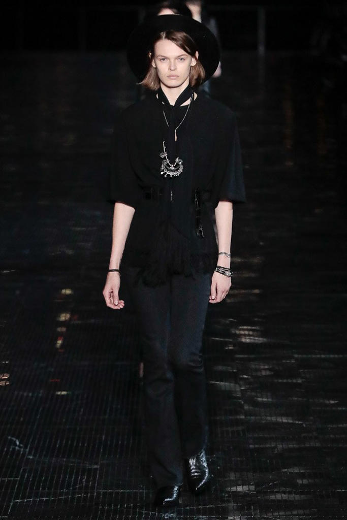 Saint Laurent Spring 2019 Menswear Runway Show Kaia Gerber Binx Walton Unisex Fashion Week Collection Rock Accessories Leather Texture