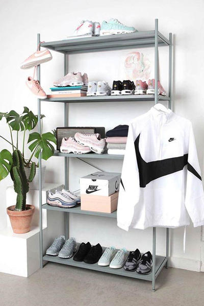 Nike Sneaker Collection Big Swoosh Jacket White Air Max Four Tier Rack