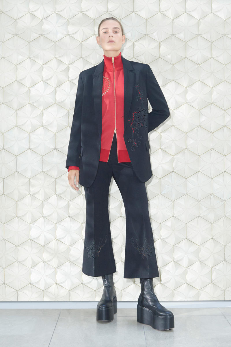Stella McCartney Spring/Summer 2019 Collection Lookbook Blazer Cropped Trousers Platform Shoes Turtleneck Top Black Red