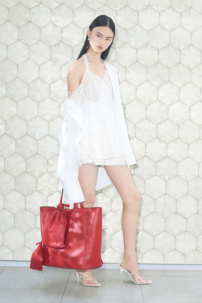 Stella McCartney Spring/Summer 2019 Collection Lookbook Lace Dress Leather Handbag Heels White Red Clear