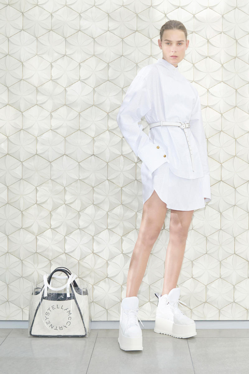 Stella McCartney Spring/Summer 2019 Collection Lookbook Longsleeve Striped Shirtdress Tote White Clear