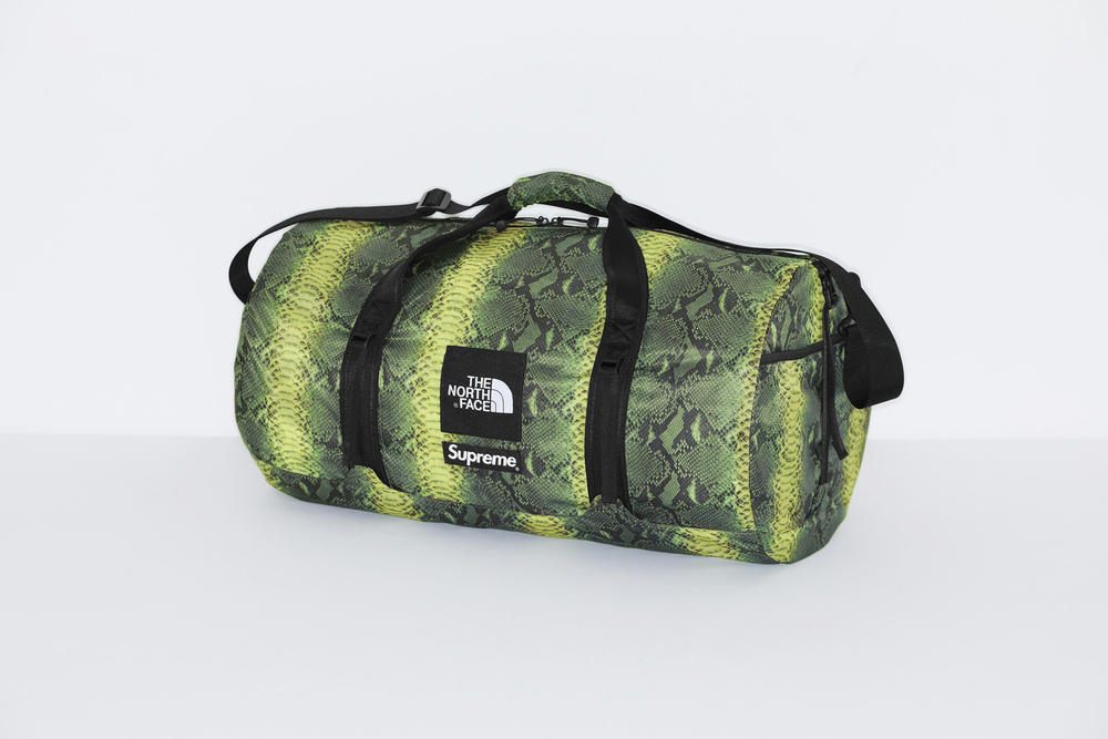 Supreme x The North Face Green Snakeskin Print Duffle Bag