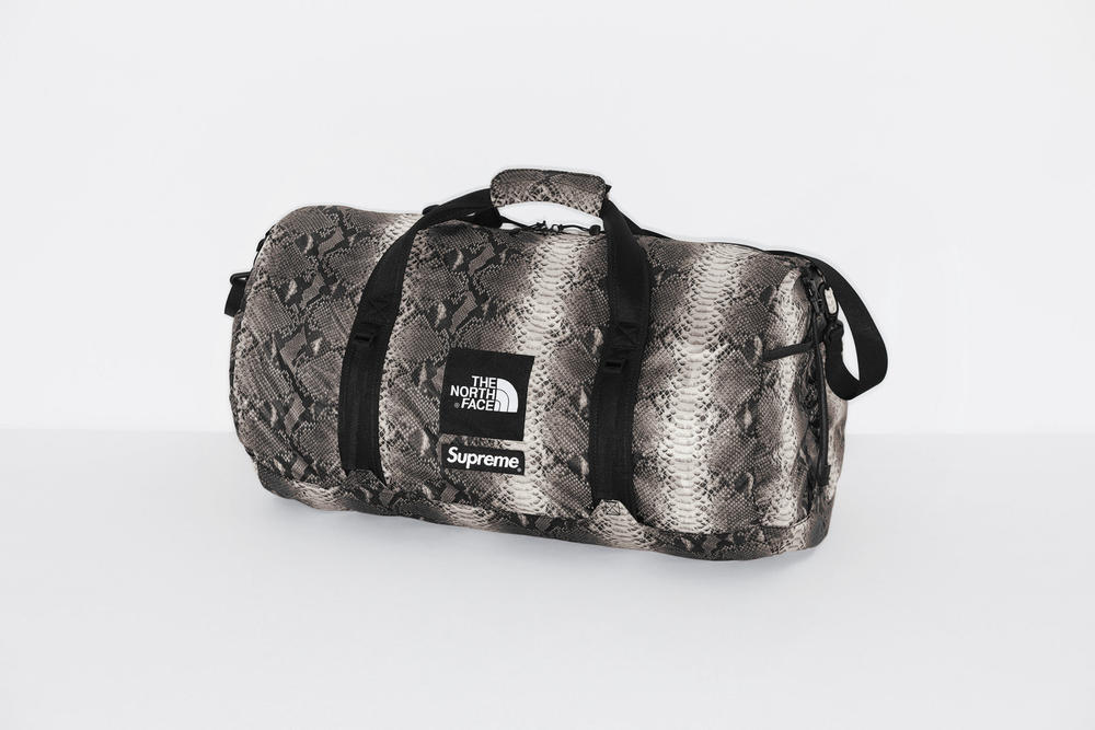 Supreme x The North Face Grey Snakeskin Print Duffle Bag