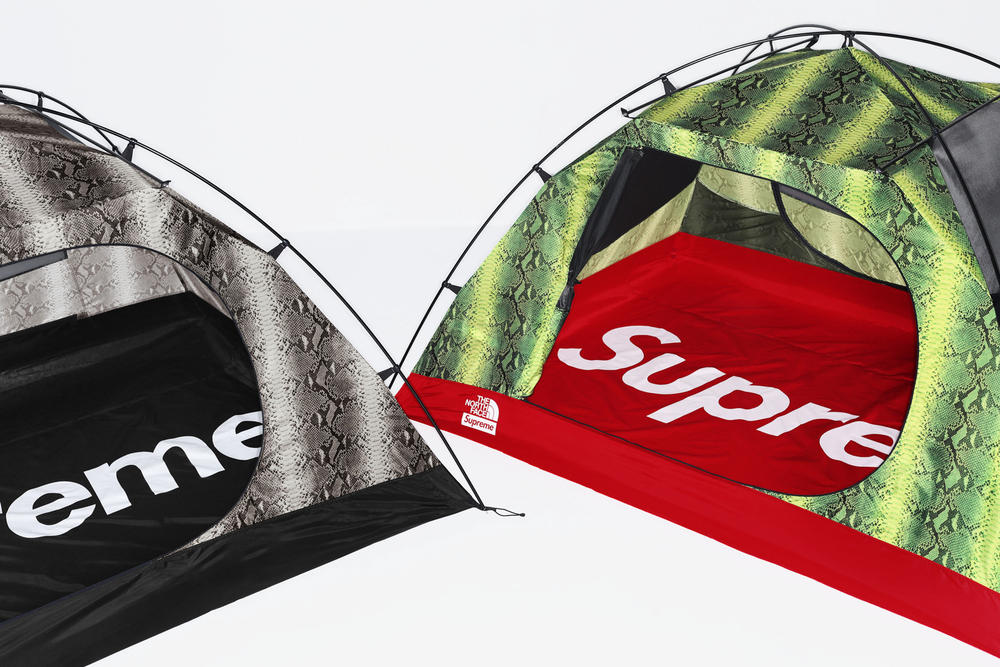 Supreme x The North Face Green Grey Snakeskin Print Tent