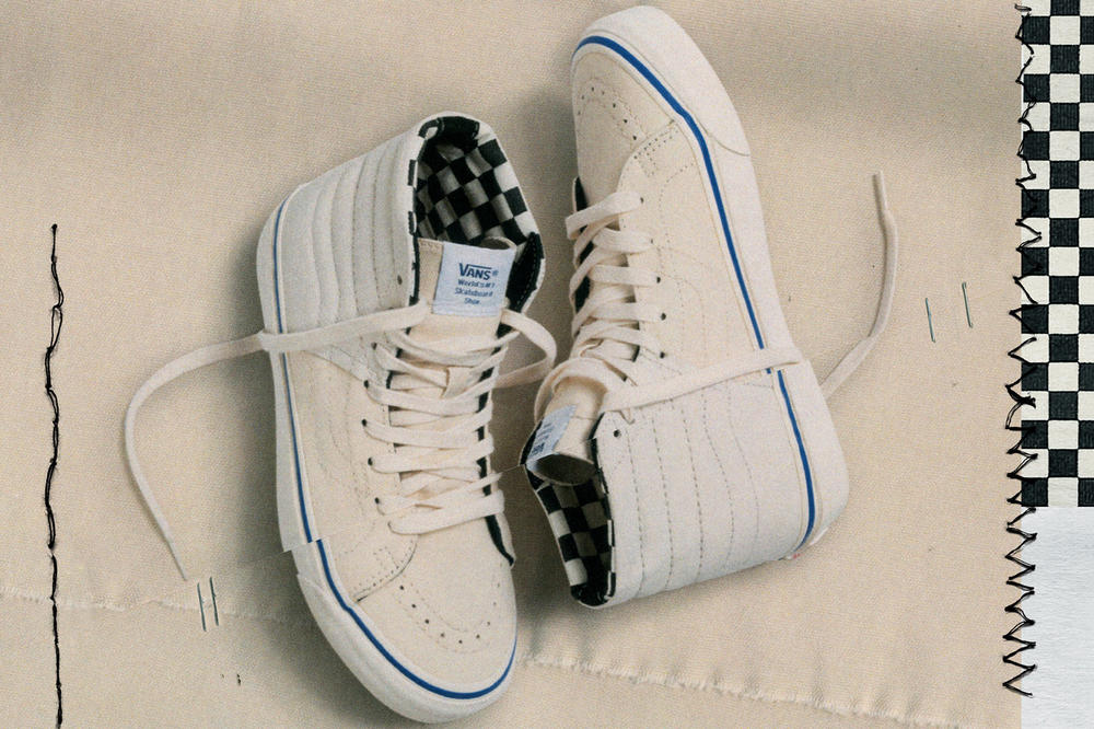 Vans Vault Sk8-Hi Inside Out Cap LX Pack Checkerboard Cream White Blue
