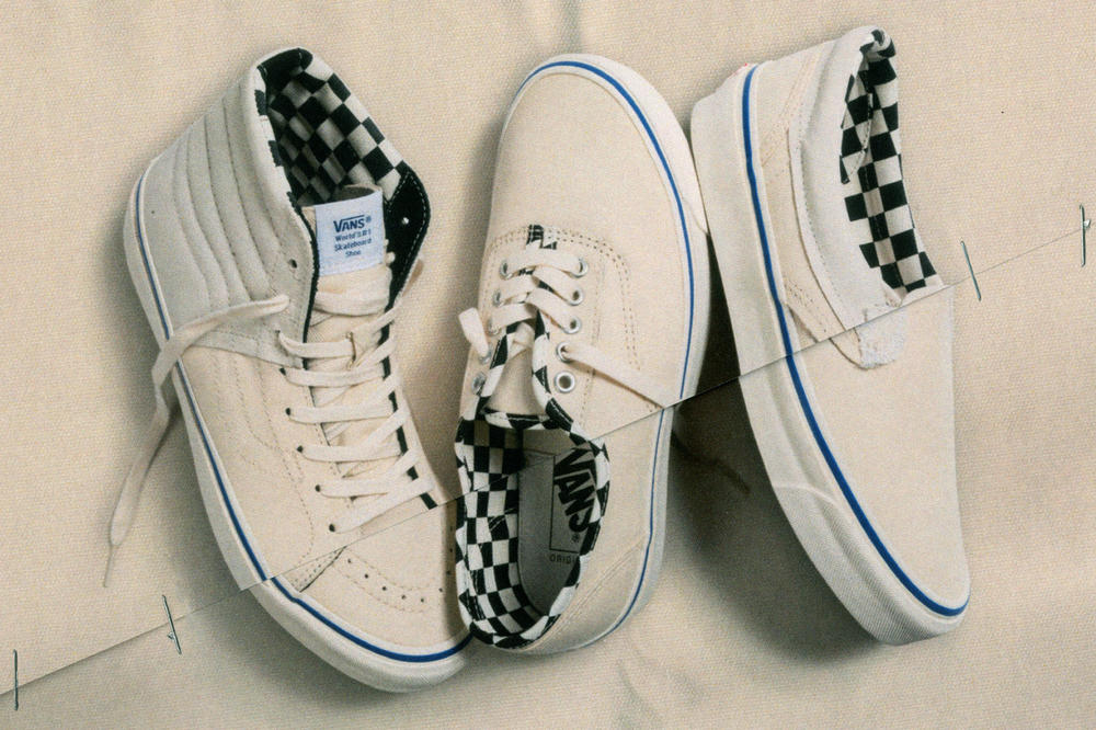 Vans Vault Sk8-Hi LX Authentic Style 36 Inside Out Cap LX Pack Checkerboard Cream White Blue