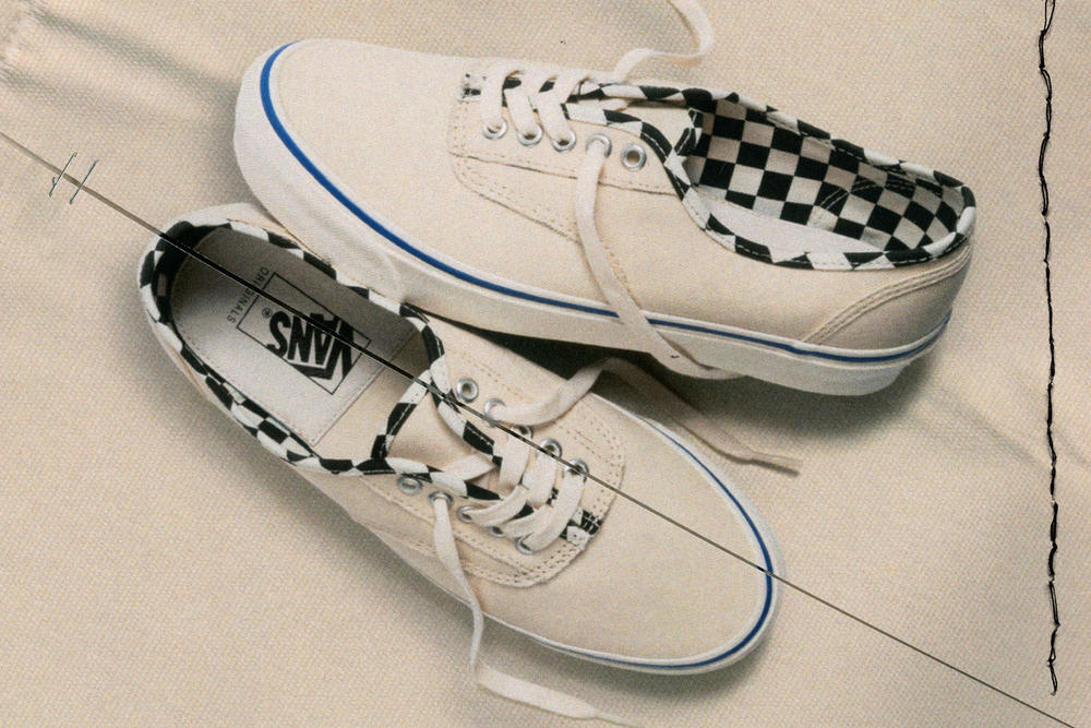 Vans Vault Authentic Inside Out Cap LX Pack Checkerboard Cream White Blue