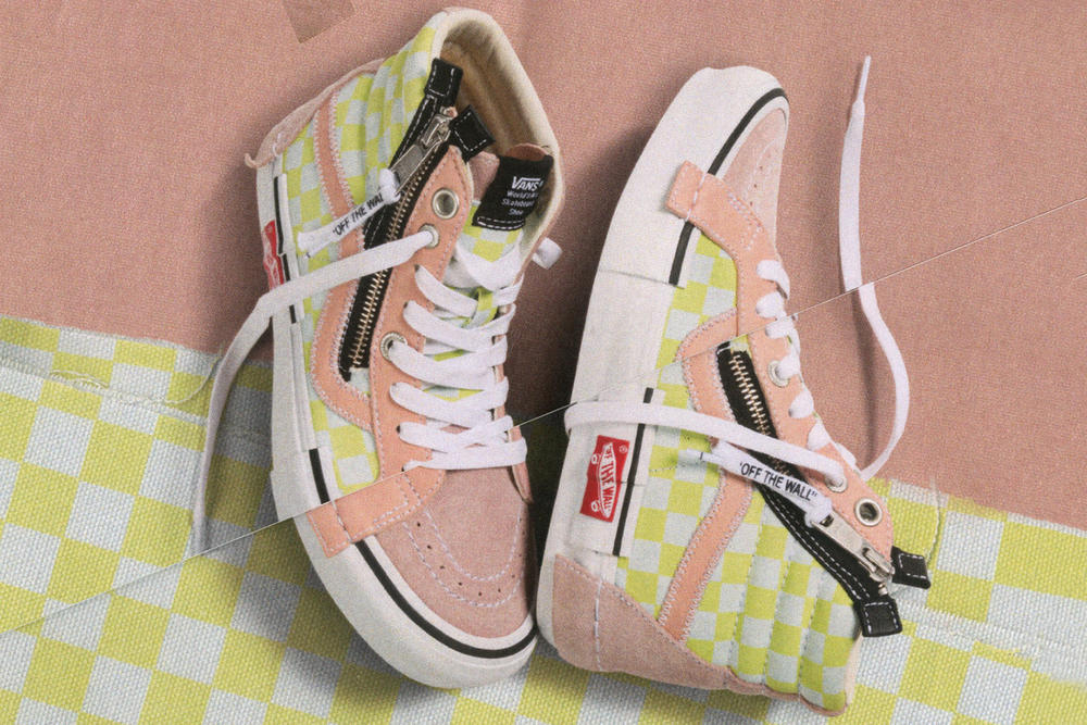 Vans Vault Sk8-Hi Inside Out Cap LX Pack Checkerboard Pink Yellow White