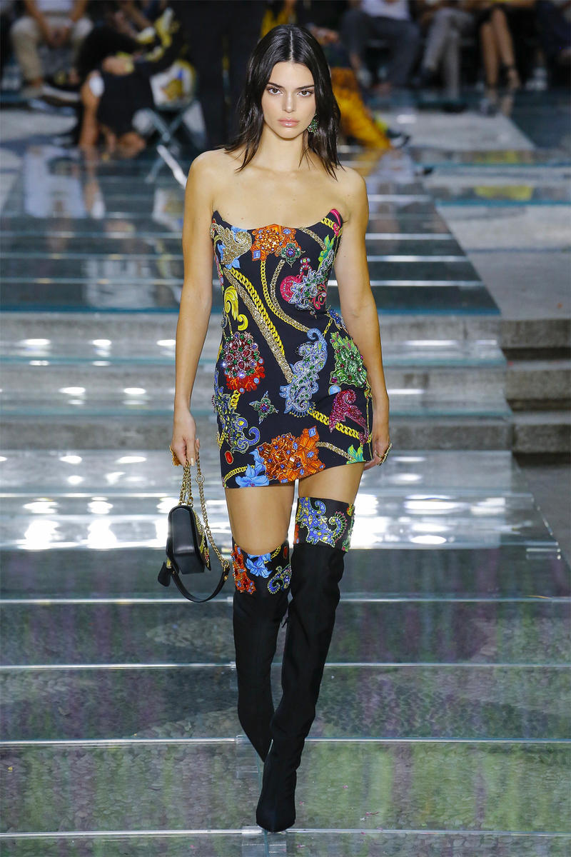 Kendall Jenner Versace Spring Summer 2019 Mens Runway Tube Dress Boots