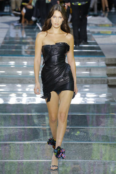 Bella Hadid Versace Spring Summer 2019 Mens Runway Black Leather Dress