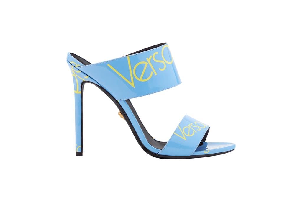Versace Blue Logo Sandal Patent Leather