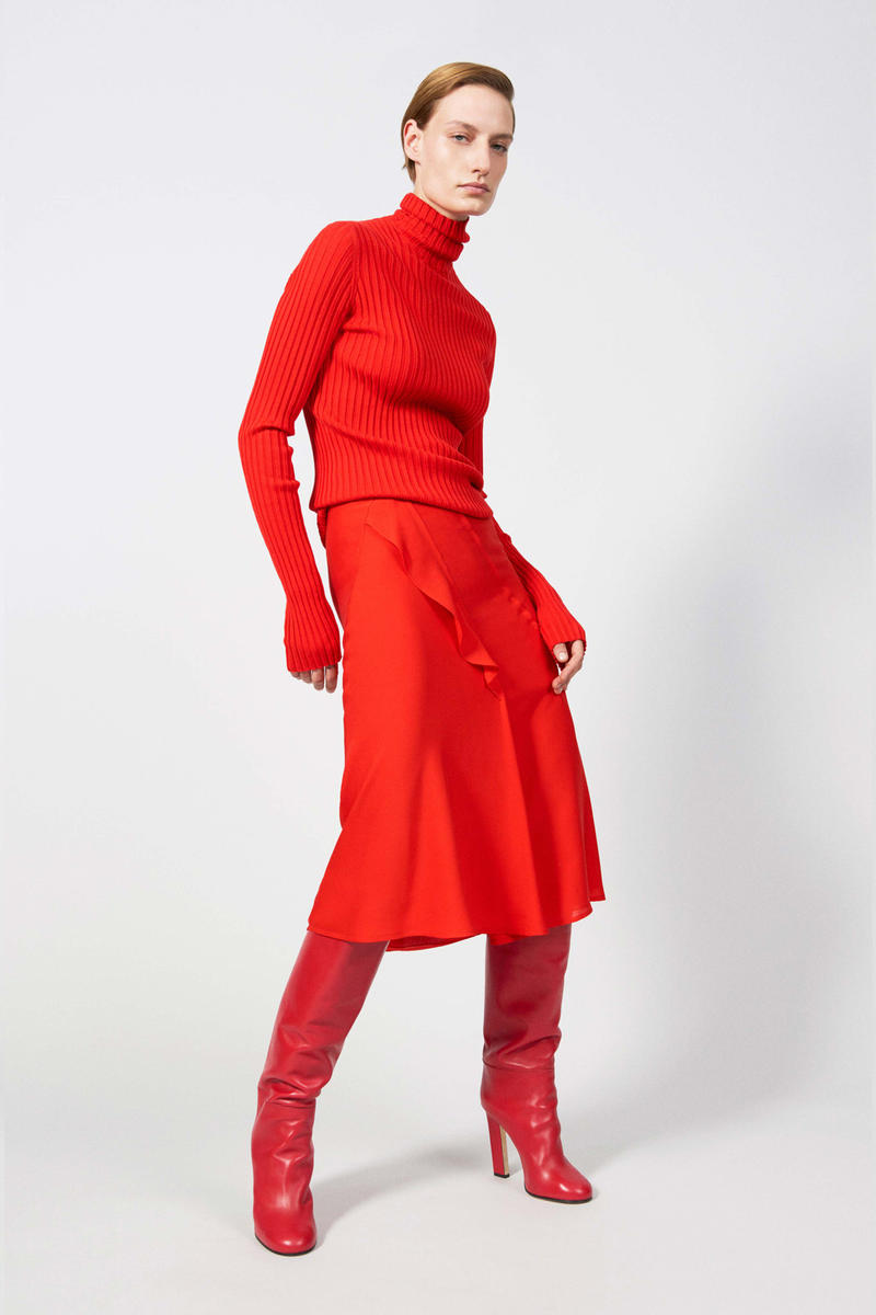 Victoria Beckham Resort 2019 Collection Lookbook Longsleeve Turtleneck Skirt Leather Boots Red