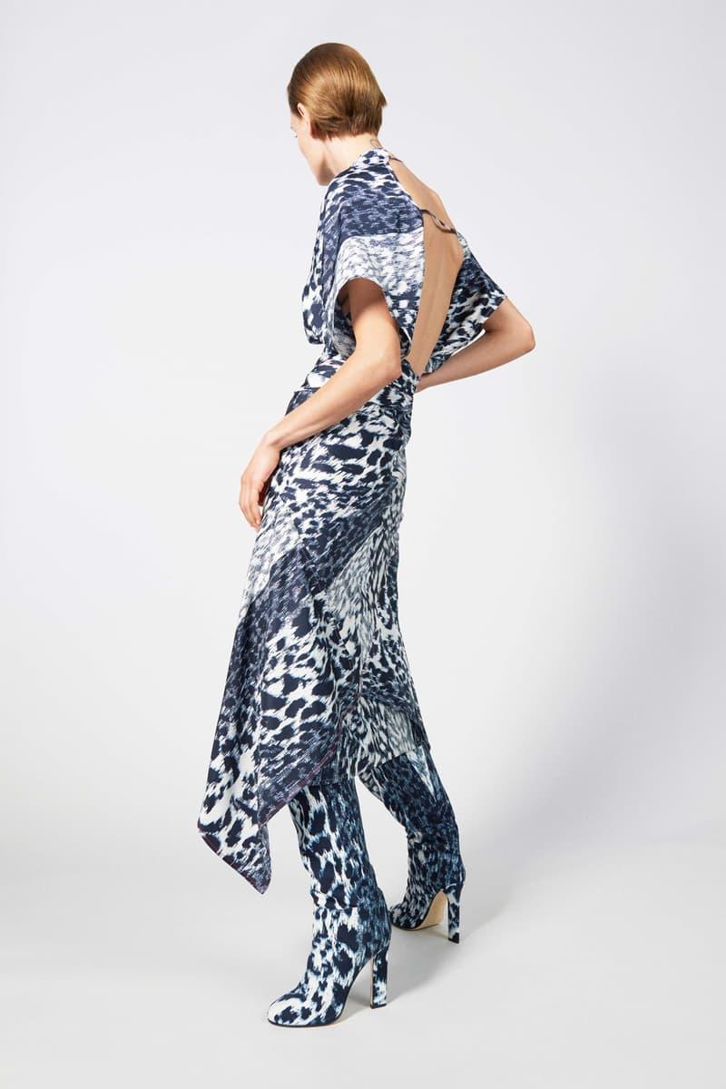 Victoria Beckham Resort 2019 Collection Lookbook Patterned Dress Boots Blue Cream