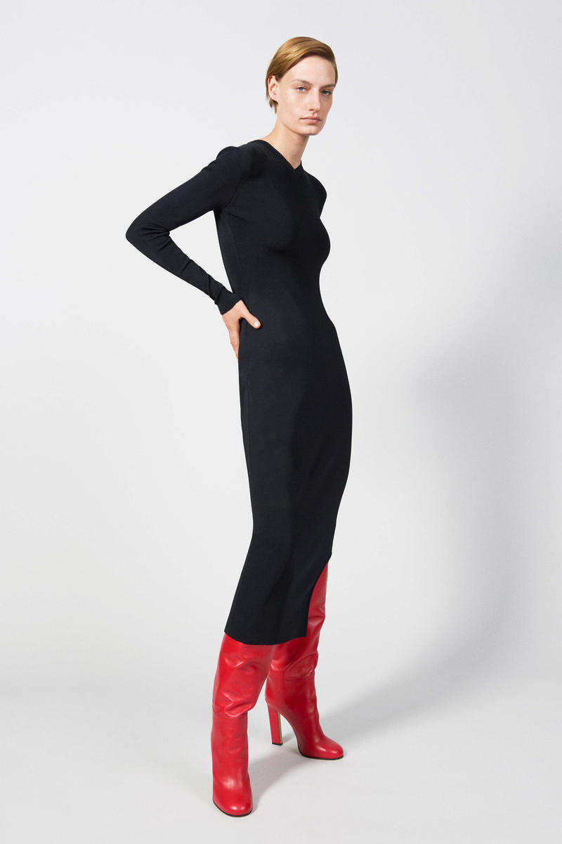 Victoria Beckham Resort 2019 Collection Lookbook Long-Sleeve Dress Black Boots Red