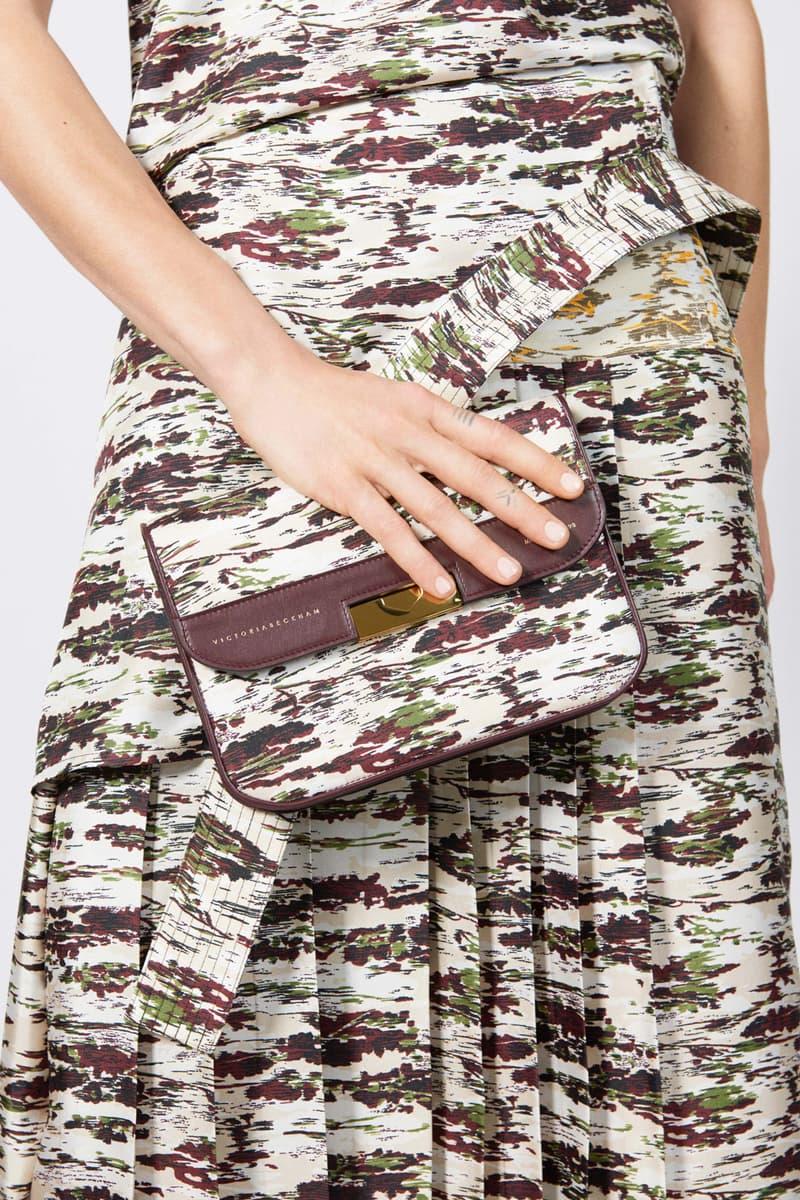 Victoria Beckham Resort 2019 Collection Lookbook Shirt Skirt Handbag Purple Green Cream