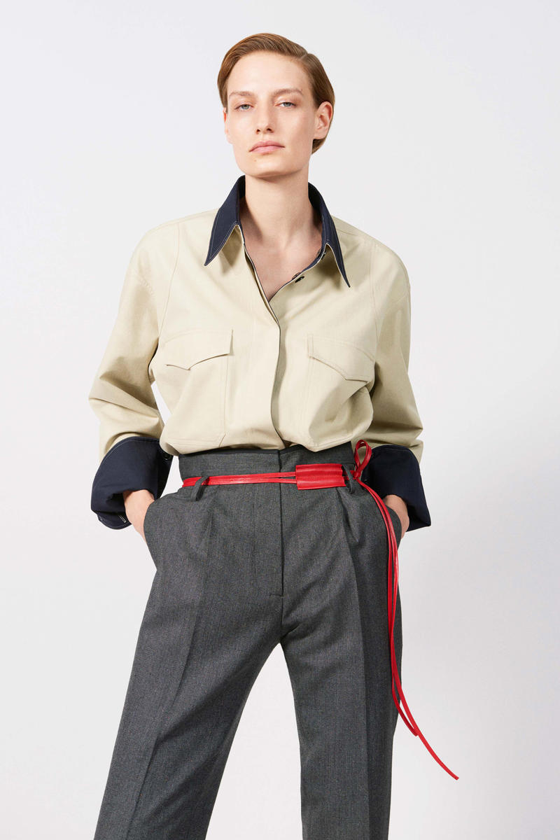 Victoria Beckham Resort 2019 Collection Lookbook Collared Shirt Tan Trousers Grey Leather Belt Red