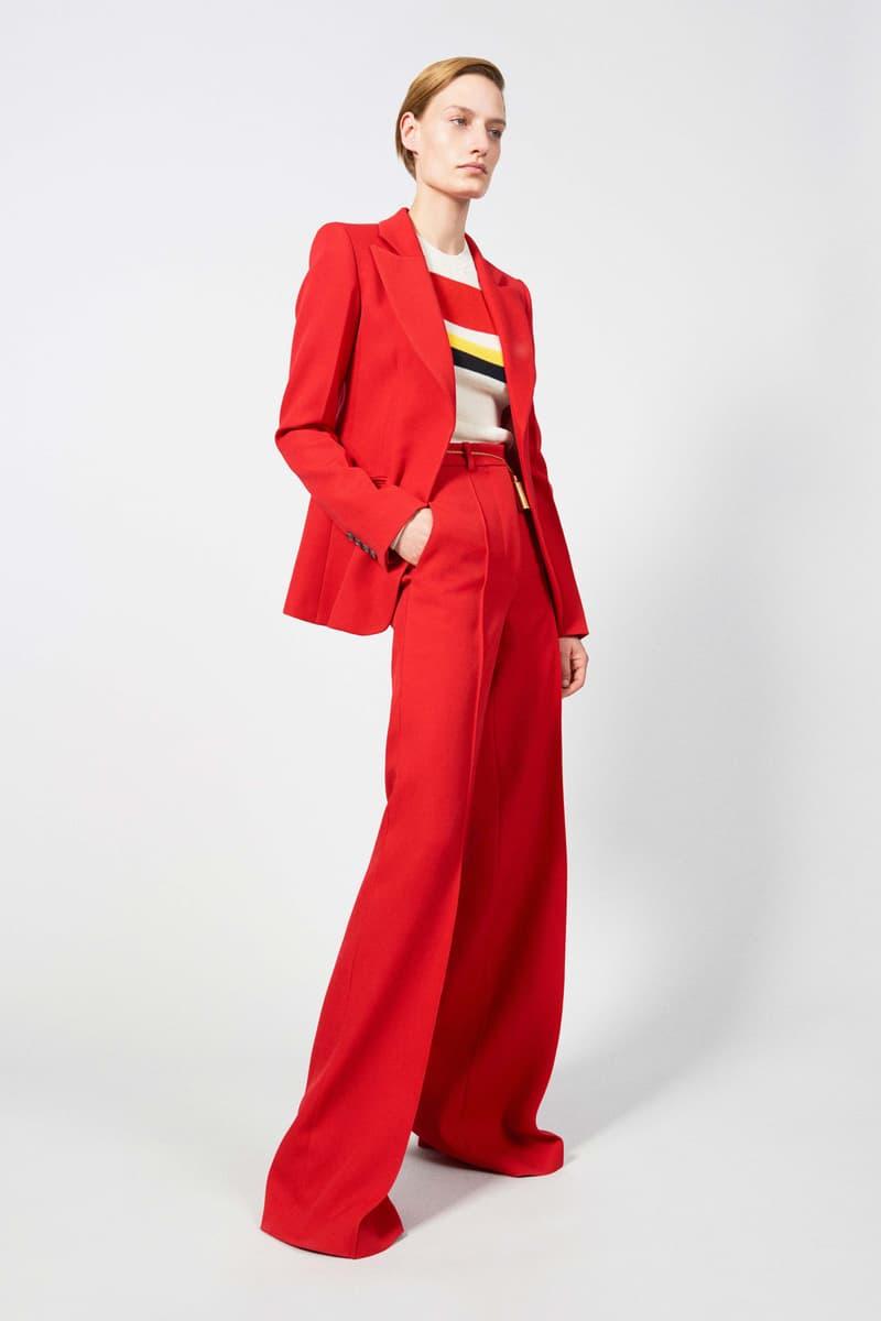 Victoria Beckham Resort 2019 Collection Lookbook Blazer Pants Red Striped Shirt White Yellow