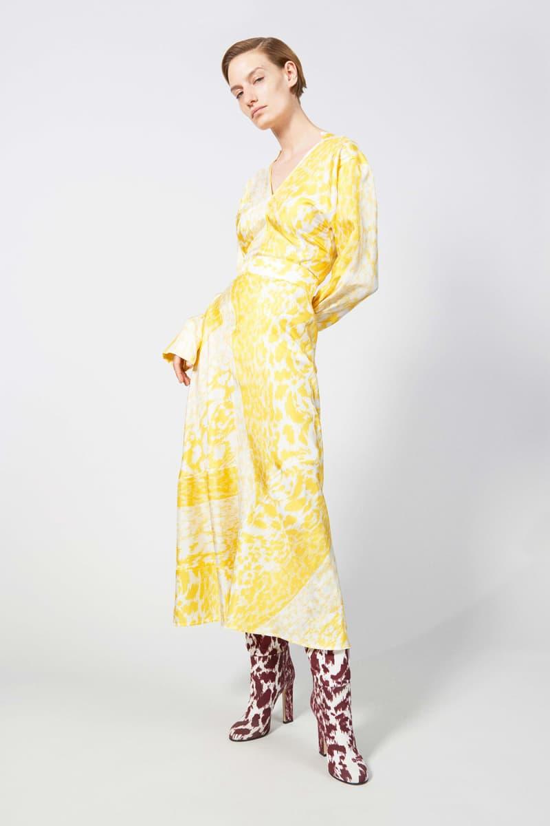 Victoria Beckham Resort 2019 Collection Lookbook Dress Yellow Cream Boots Maroon