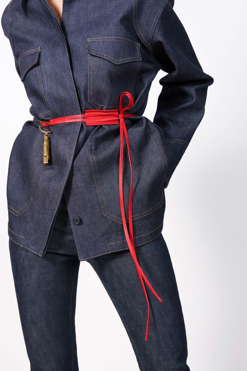Victoria Beckham Resort 2019 Collection Lookbook Denim Jacket Jeans Leather Belt Red Gold