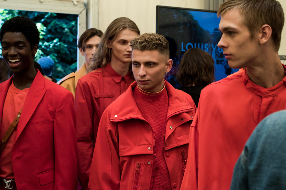 Louis Vuitton Men's Spring/Summer 2019 Show Paris Fashion Week Backstage Blondey McCoy Jacket Blazer Shirt Red