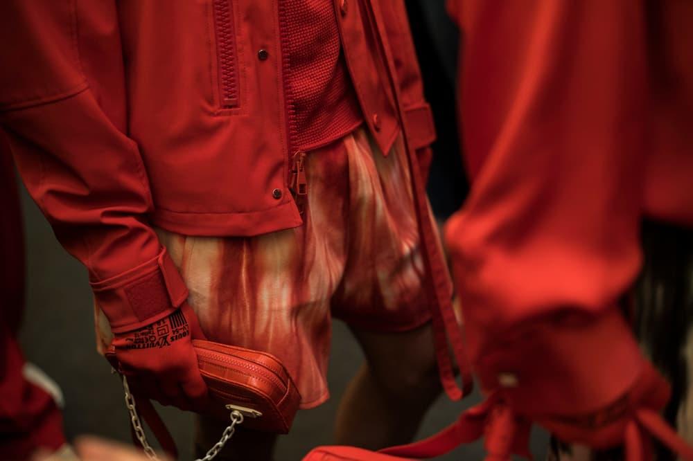 Louis Vuitton Men's Spring/Summer 2019 Show Paris Fashion Week Backstage Jacket Bag Shorts Red